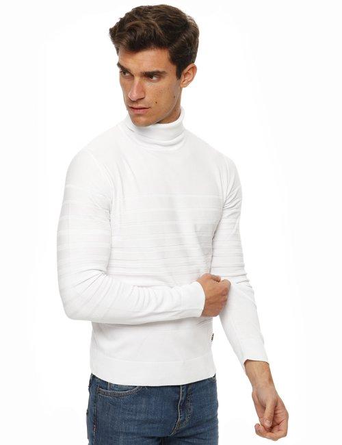 Maglione Yes Zee lavorazione a righe - Bianco