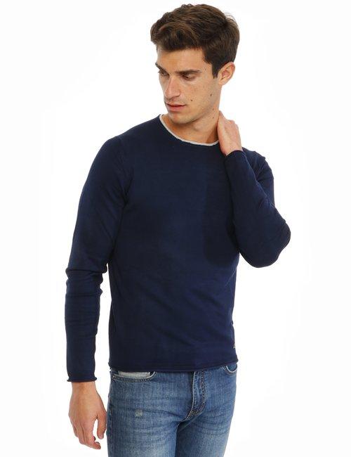 Maglione Yes Zee con scollo a contrasto - Blu