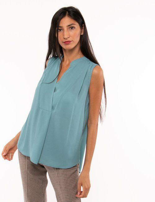 Top Vougue scollo a V - Azzurro