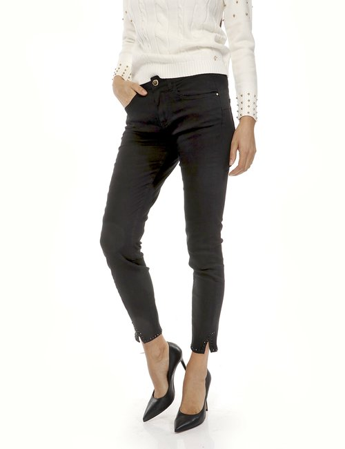 Jeans Yes Zee con strass - Nero