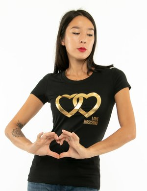 T-shirt Love Moschino con stampa gold