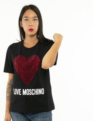 T-shirt Love Moschino cuore con strass