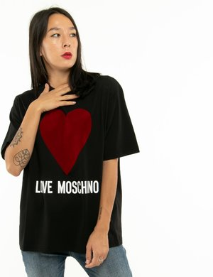 T-shirt Love Moschino cuore in velluto