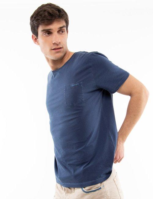 T-shirt Gant in cotone con taschino - Blue_Pearl