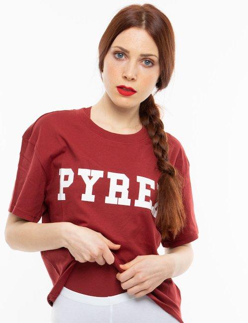T-shirt Pyrex con logo maxi - Burgundy