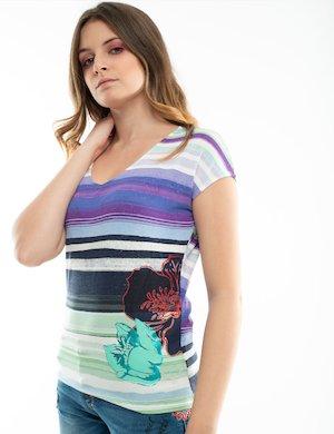 T-shirt Desigual a righe con glitter