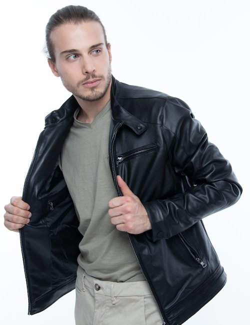Giacca Gas in ecopelle con zip - Nero