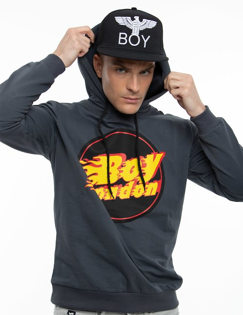 Felpa Boy London con cappuccio - Grey