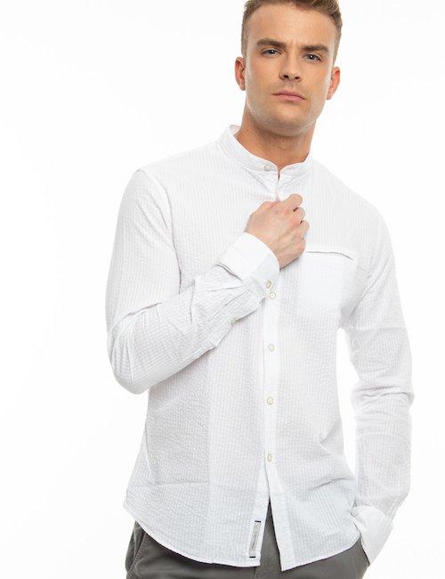 Camicia Yes Zee con collo alla coreana - Bianco