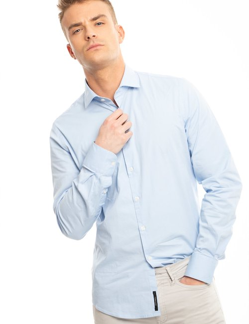 Camicia Yes Zee in cotone - Lite Blue