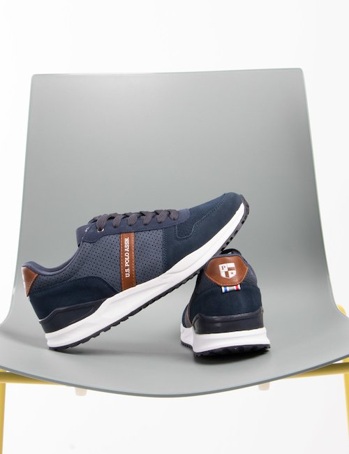 Sneakers U.S. Polo Assn. in ecopelle scamosciata - Blu
