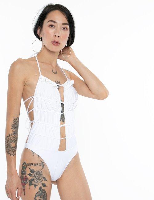 Costume F**K intero tinta unita - Bianco