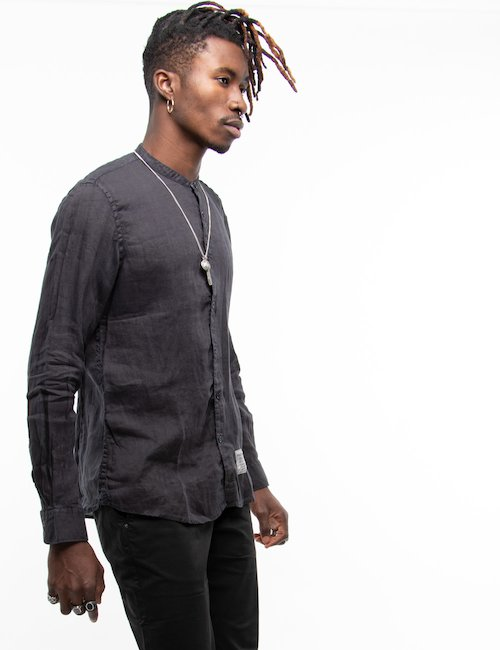 Camicia Fred Mello con colletto alla coreana - Black_Turquoise