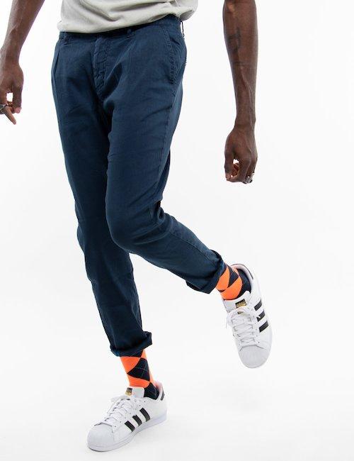 Pantalone Fred Mello in lino - Blue_Pearl