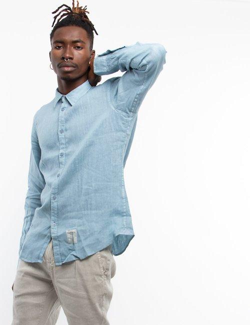 Camicia Fred Mello in lino - Lite Blue