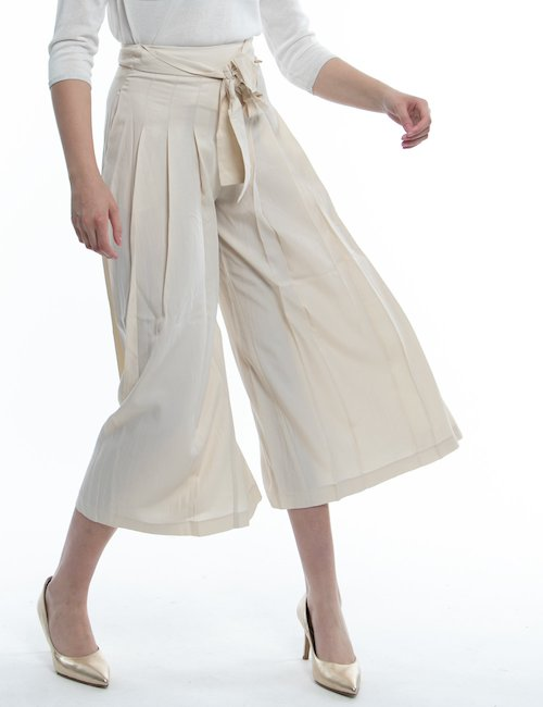 Gonna pantalone Fracomina con pieghe - Beige