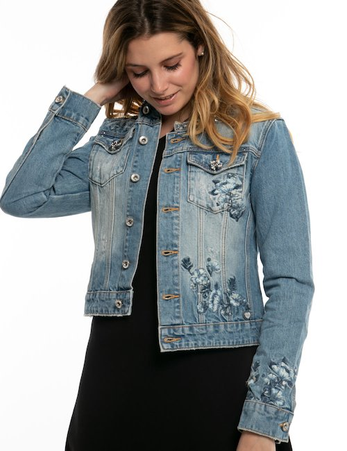 Giacca  in jeans Fracomina con ricami - Jeans