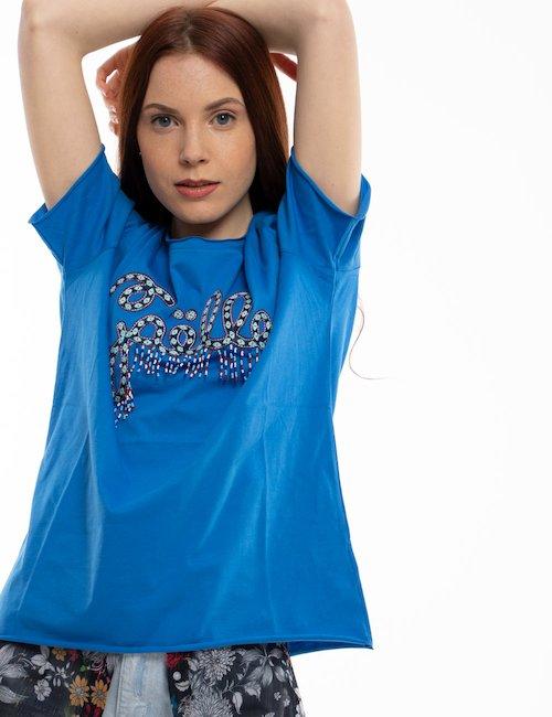 T-shirt GAeLLE con ricamo e frange colorate - Blue_Pearl