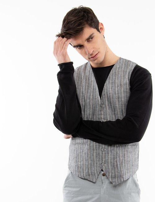 Gilet Gianni Lupo gessato in lino - Fantasia