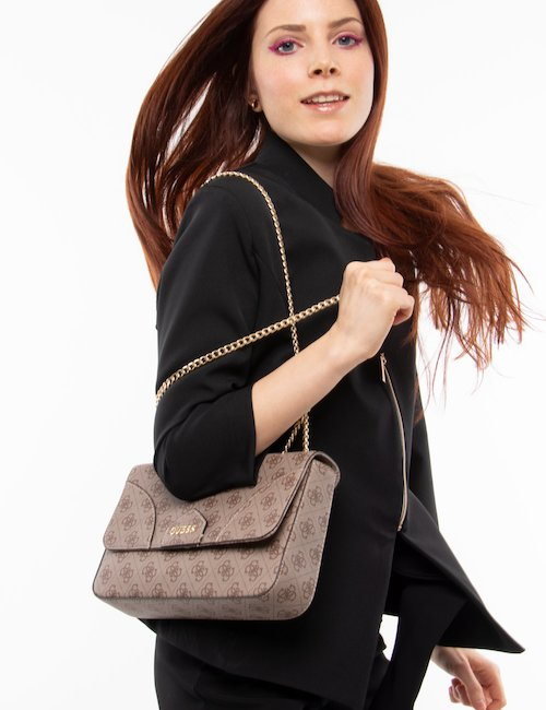 Borsa  Guess all-over con tracolla - Brown