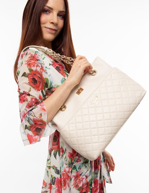 Borsa Guess in pelle matelassé - Cream