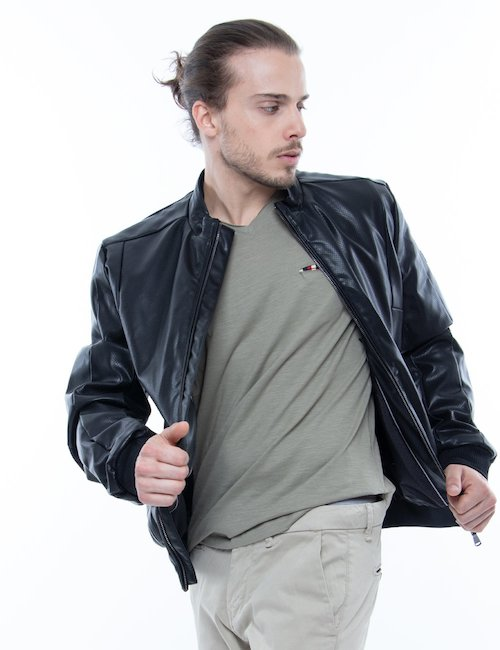 Giacca Yes Zee in ecopelle con full-zip - Nero