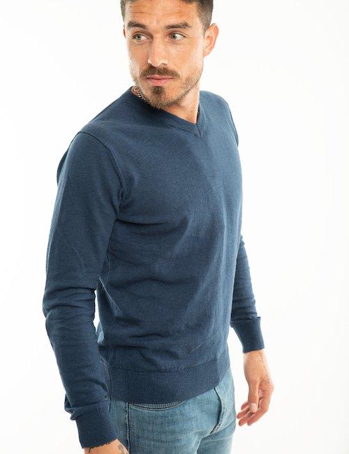 Maglione Yes Zee con scollo a V - Blu