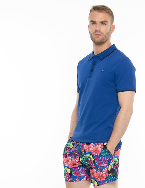 Polo Guess con bordi a contrasto - Blu