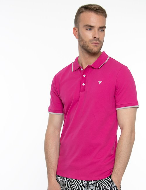 Polo Guess con bordi a contrasto - Pink