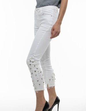 Pantalone Yes Zee con pizzo e strass