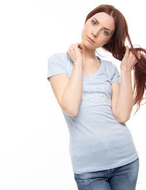 T-shirt Pepe Jeans con scollo a V e stampa