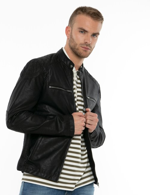 Giacca Smiling London in pelle - Black_Amber