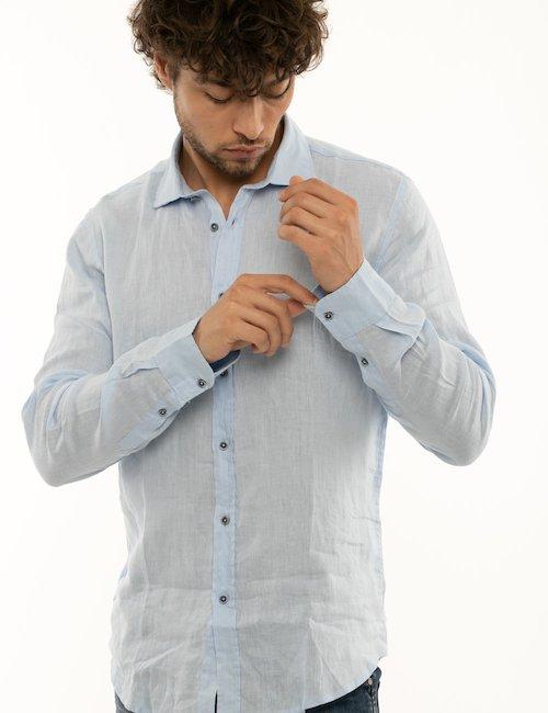 Camicia Smiling London in lino - Lite Blue