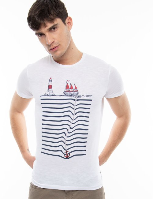 T-shirt Yes Zee con stampa marina - White