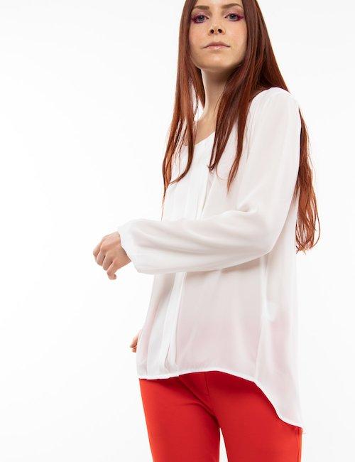Blusa  Vougue con plissè - Bianco