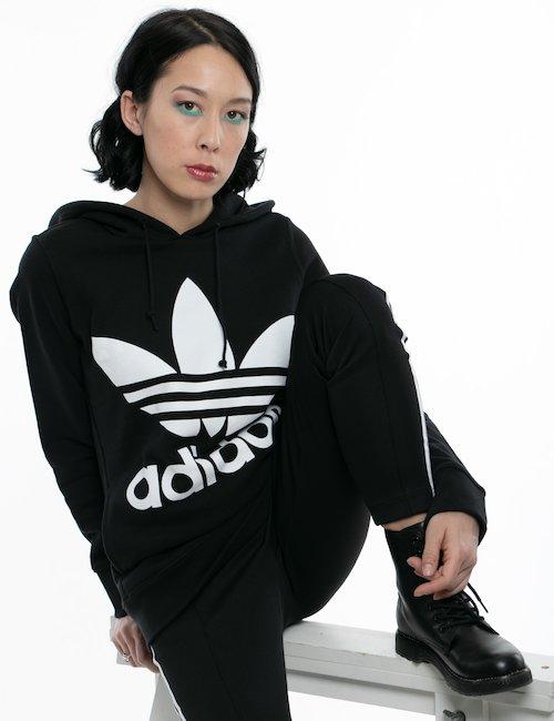 Felpa Adidas con maxi logo - Nero
