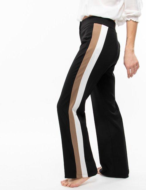 Pantalone Vougue ampio con bande - Nero Bianco