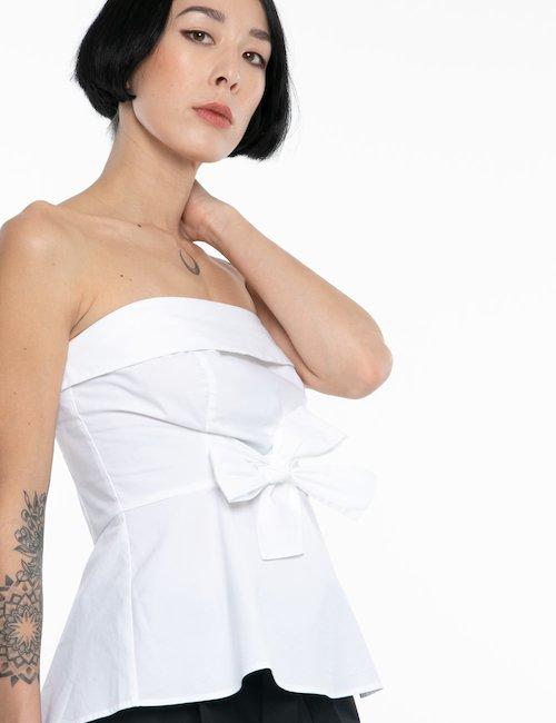 Top Guess spalle scoperte - White