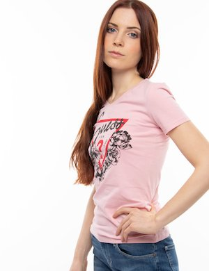 T-shirt Guess a V con strass