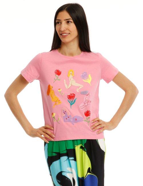 T-shirt Desigual con applicazioni - Rosa