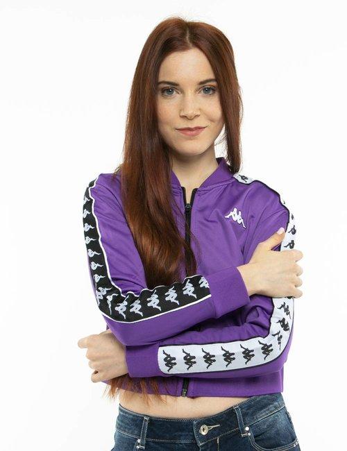 Felpa Kappa con zip e logo - Viola