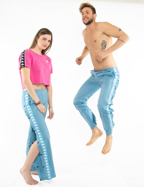 Pantalone Kappa con bottoni e bande laterali - Azzurro