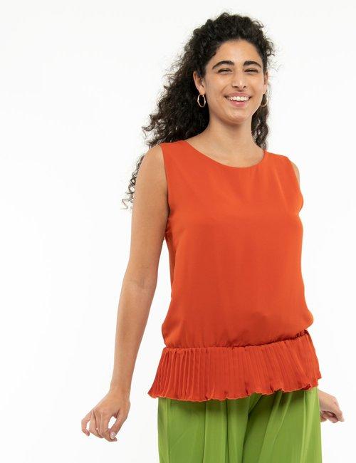 Top Vougue con orlo plissettato - Arancione