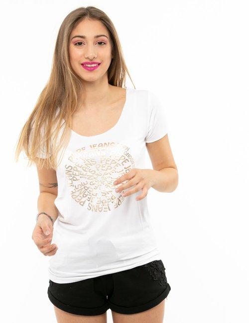 T-shirt Pepe Jeans con stampa circolare - Bianco