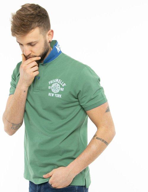 Polo Fred Mello con logo a lato e bordi a contrasto - Verde