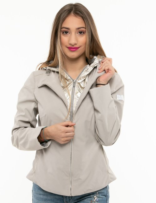 Giacca Yes Zee con cappuccio glossy - Beige