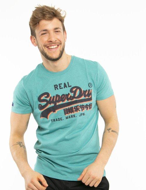 T-shirt Superdry con logo in corsivo - Azzurro