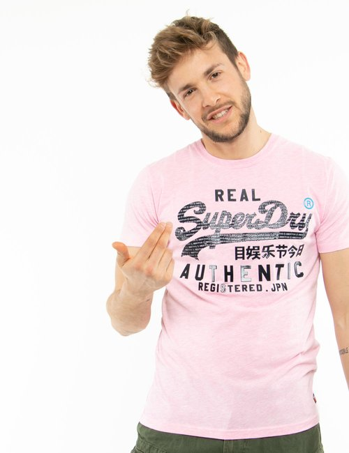 T-shirt Superdry con logo in gomma - Rosa