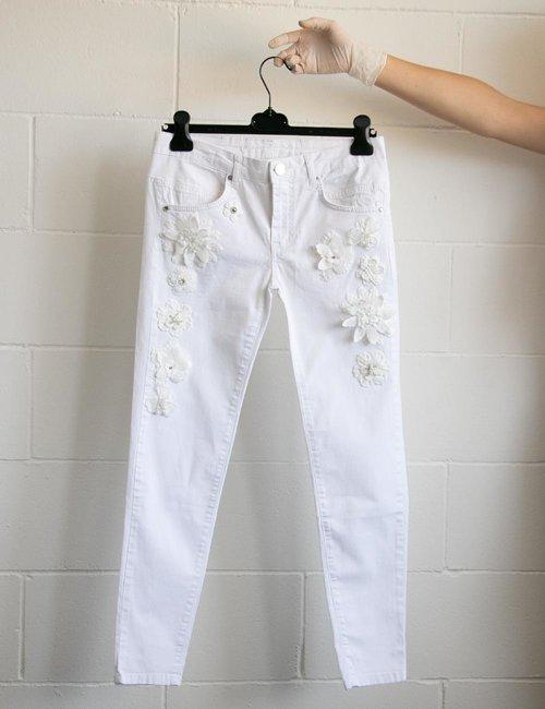 Jeans Maison Espin con ricami in rilievo - Bianco
