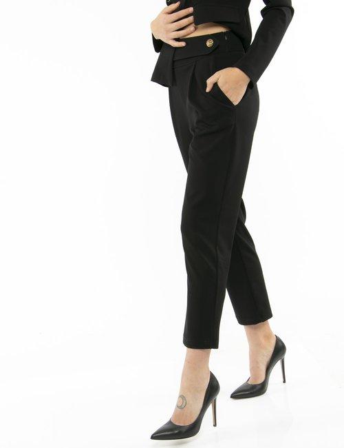 Pantalone Vougue con bottone a lato - Nero